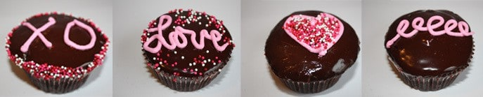 These are my u201cLove Cupcakesu201c. I used a chocolate cupcake filled it with a pink creme and dipped the top in chocolate ganache. & Tips u0026 Tricks: Valentineu0027s Day Cupcake Decorating Ideas - JavaCupcake