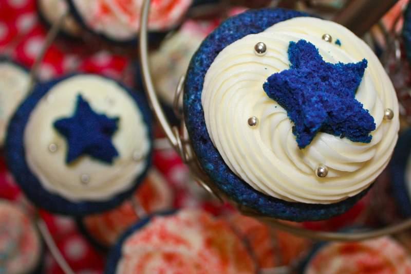 Red White and Blue Velvet Cupcakes