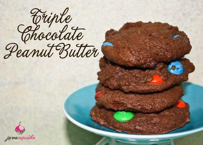 Triple Chocolate Peanut Butter Cookies | JavaCupcake.com