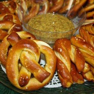 German-style Salted Pretzels with Spicy Beer Mustard