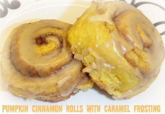 Pumpkin Cinnamon Rolls with Caramel Frosting