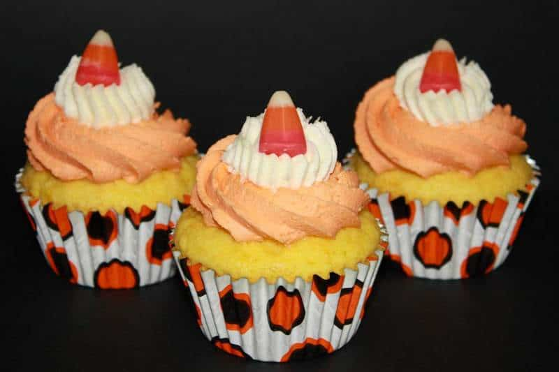 Blood Orange Candy Corn Cupcakes | JavaCupcake.com