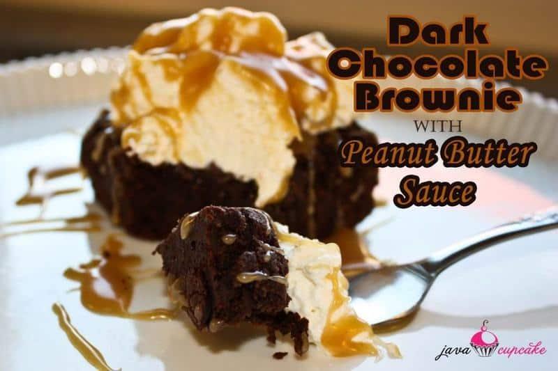 Dark Chocolate Brownies with Peanut Butter Sauce | JavaCupcake.com