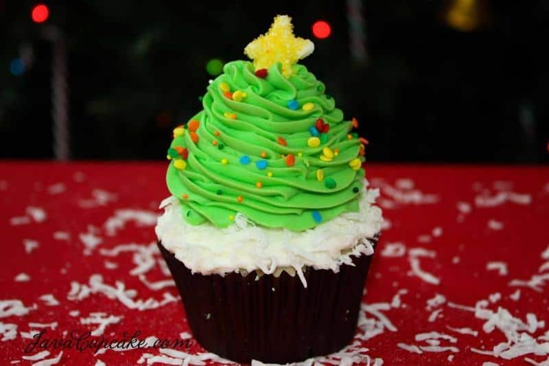 Christmas Tree Cupcakes with recipe & tutorial | JavaCupcake.com