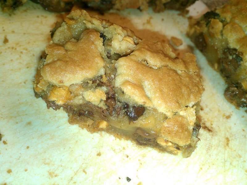 Ooey Gooey Double Chip Surprise Cookie Bars