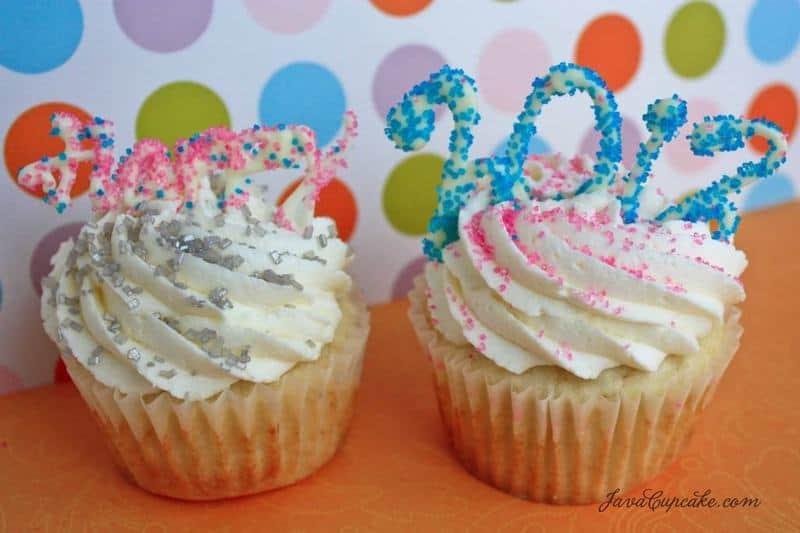 New Years Raspberry Champagne Cupcakes | JavaCupcake.com