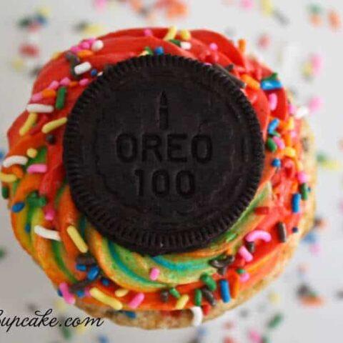 Rainbow Funfetti Birthday Cake Oreo Cupcakes