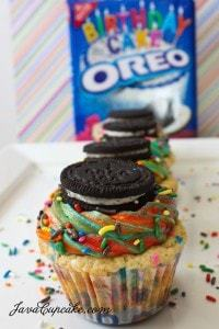 Rainbow Funfetti Birthday Cake Oreo Cupcakes | JavaCupcake.com