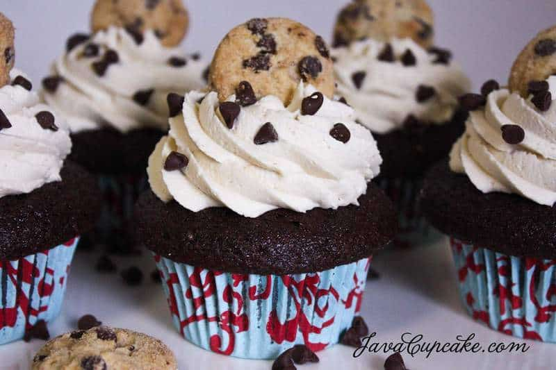Chocolate Chocolate Chip Cookie Dough Cupcakes - The JavaCupcake Blog