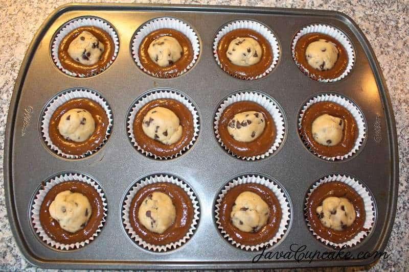 Chocolate Chocolate Chip Cookie Dough Cupcakes   The JavaCupcake Blog https://javacupcake.com
