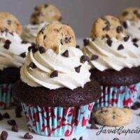 Chocolate Chocolate Chip Cookie Dough Cupcakes