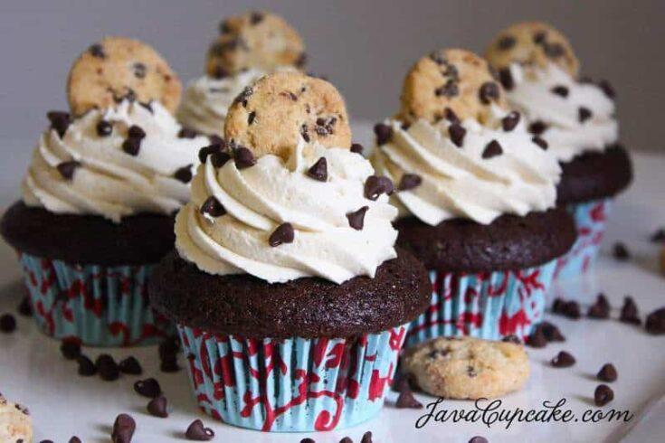 Chocolate Chocolate Chip Cookie Dough Cupcakes | JavaCupcake