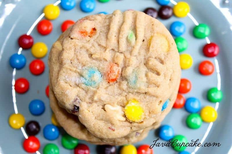 Chunky Peanut Butter M&M Cookies & Cookie Bites | JavaCupcake.com