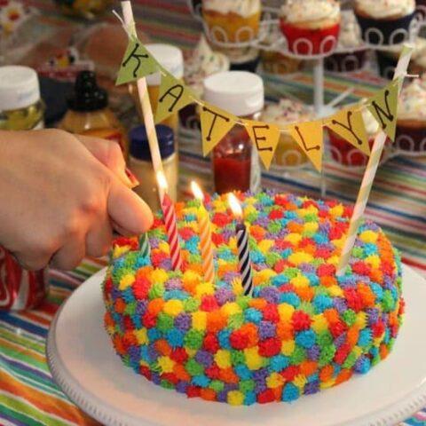 Rainbow Pom Pom Cake