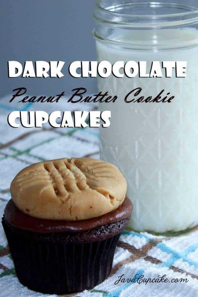 Dark Chocolate Peanut Butter Cookie Cupcakes | JavaCupcake.com