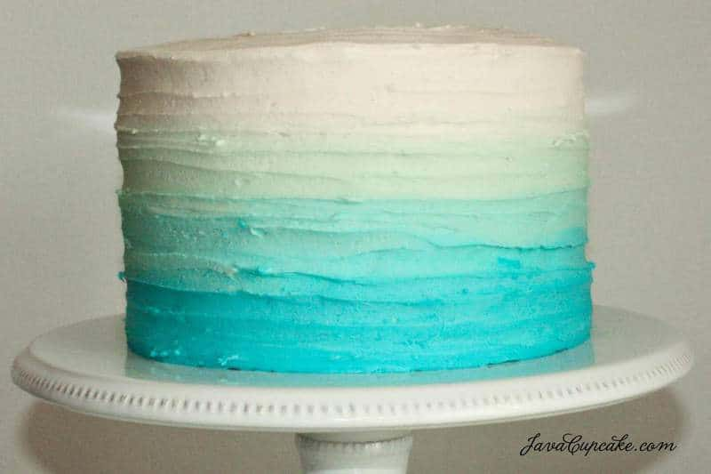 Cake Images Blue : Blue Ombre Cake Tutorial - JavaCupcake