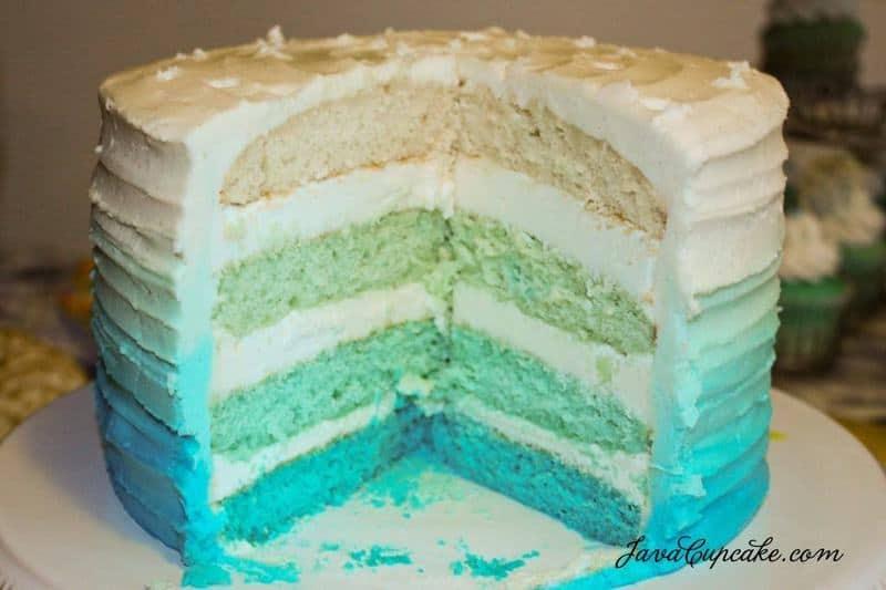 Blue Ombre Cake Tutorial | JavaCupcake.com