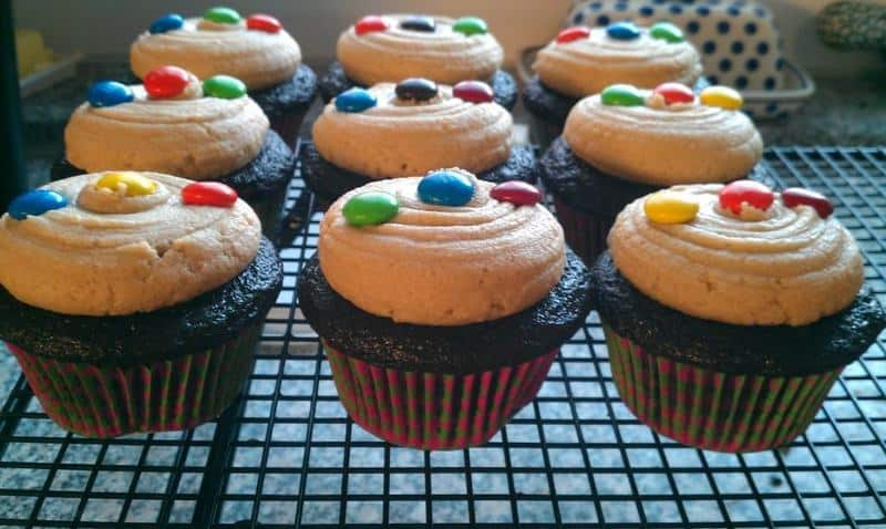 Peanut Butter & M&M Cookie Dough Filled Cupcakes | JavaCupcake.com