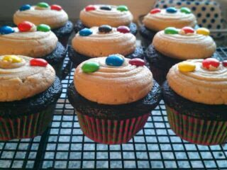 Peanut Butter & M&M Cookie Cupcakes