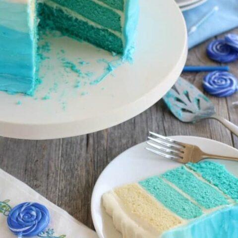 Blue Ombre Cake Tutorial