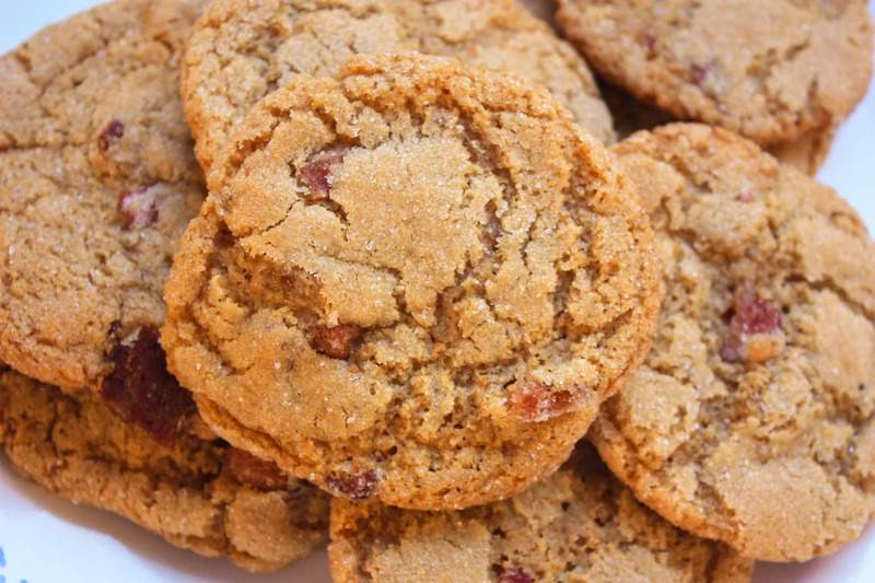 Thin & Crispy Peanut Butter Bacon Cookies