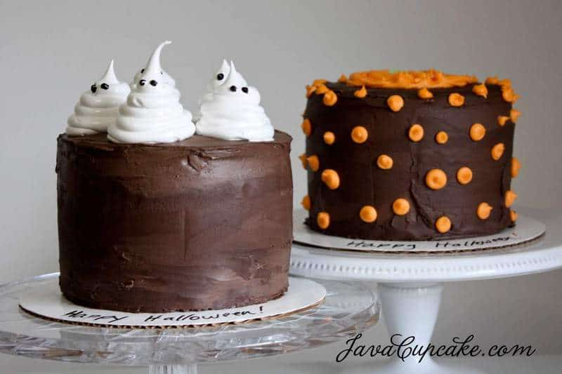 Easy Cake Decorating Halloween : Happy Halloween! {Ghost & Pumpkin Cakes} - JavaCupcake