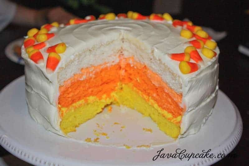 Candy Corn Cake by JavaCupcake.com