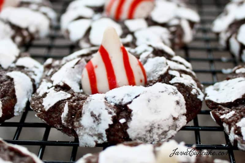The Great Food Blogger Cookie Swap 2012: Candy Cane Crinkle Blossoms | JavaCupcake.com