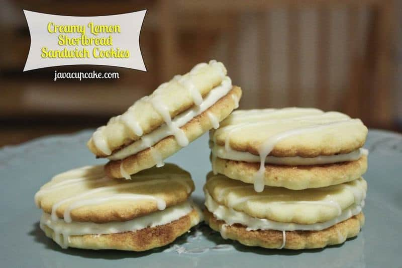 Creamy Lemon Shortbread Sandwich Cookies by JavaCupcake,com