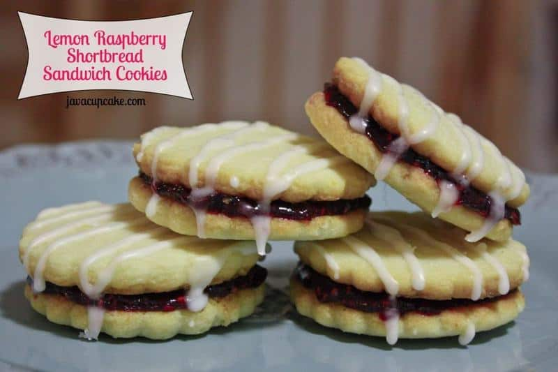 Lemon Raspberry Shortbread Sandwich Cookies by JavaCupcake.com