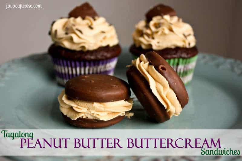 Tagalong Peanut Butter Buttercream Sandwiches by JavaCupcake.com