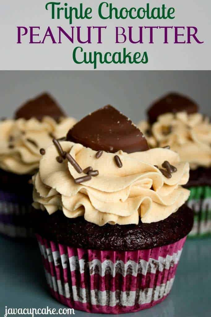 Triple Chocolate Peanut Butter Cupcakes by JavaCupcake.com