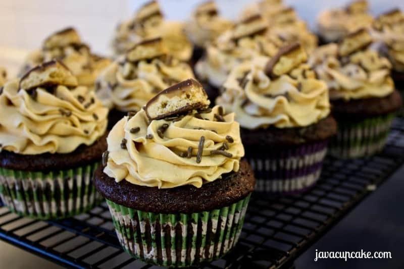 Triple Chocolate Peanut Butter Cupcakes by JavaCupcake.com