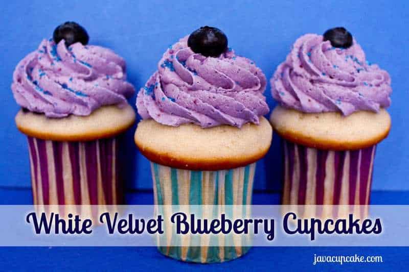 White Velvet Blueberry Cupcakes by JavaCupcake.com