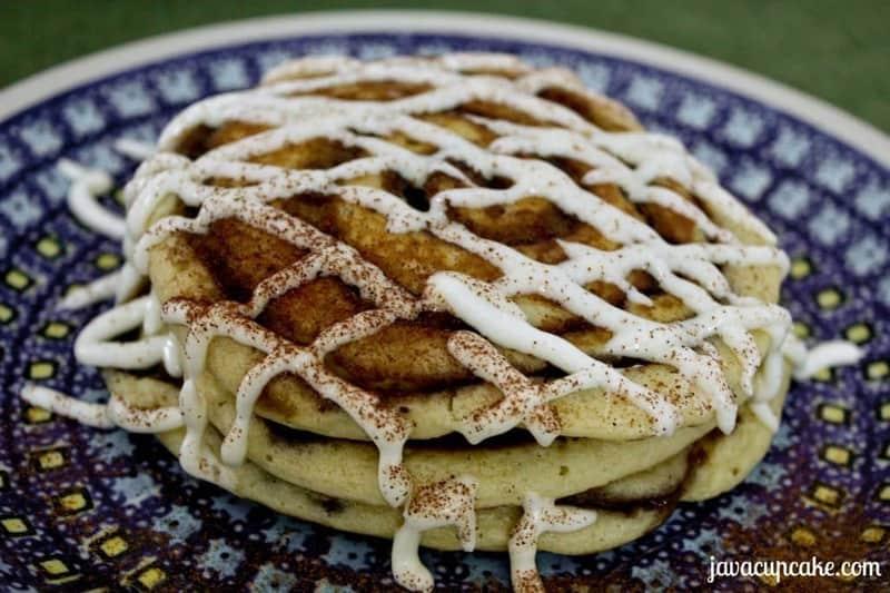 Cinnamon Roll Pancakes by JavaCupcake.com