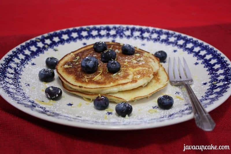 Lemon Blueberry Pancakes by JavaCupcake.com