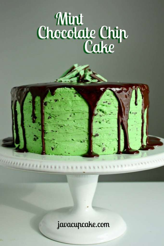 Mint Chocolate Chip Cake | JavaCupcake.com