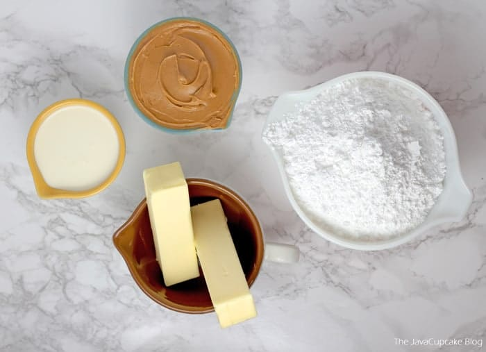 Ingredients for peanut butter frosting - powdered sugar, peanut butter, butter and heavy cream