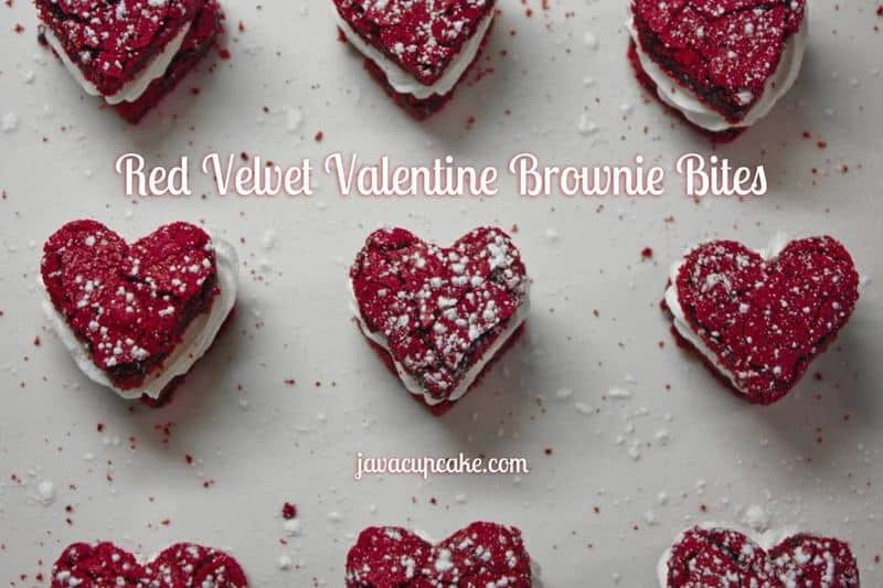 Red Velvet Valentine Brownie Bites by JavaCupcake.com