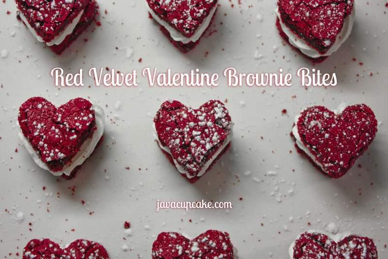 Red Velvet Valentine Brownie Bites by JavaCupcake.com