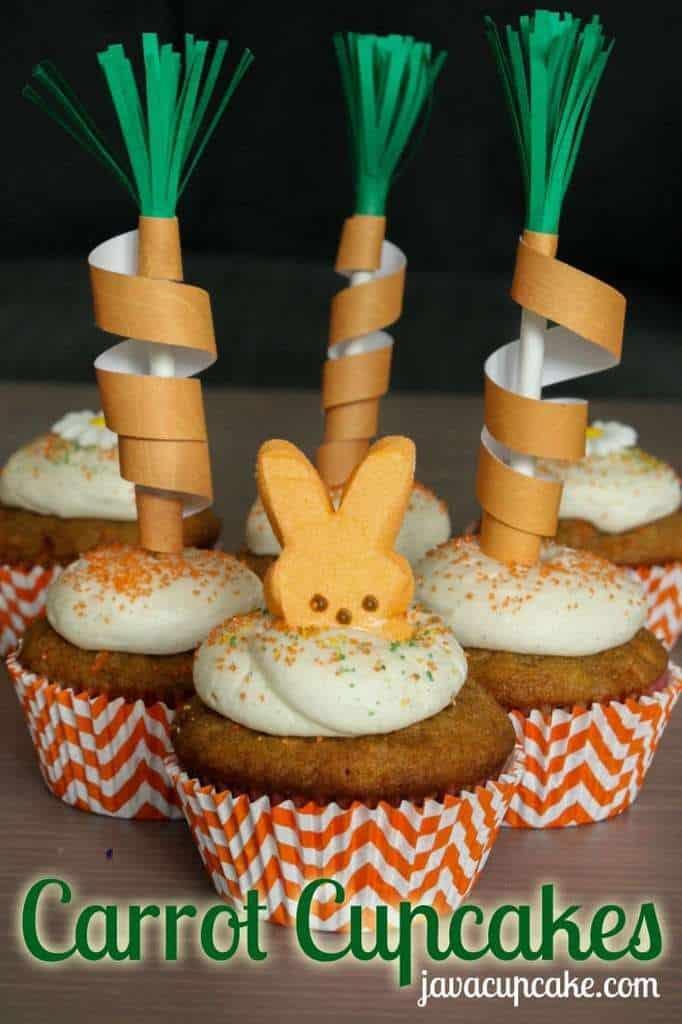 Carrot Cupcakes + DIY Carrot Toppers | JavaCupcake.com