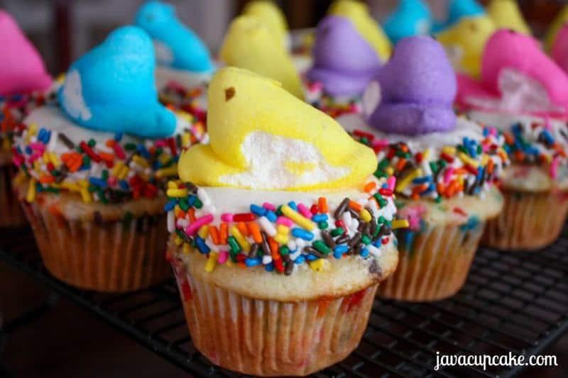 Daves Funfetti Peeps Cupcakes | JavaCupcake.com