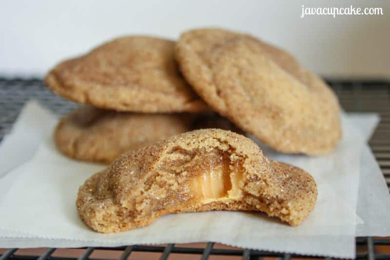 Caramel Stuffed Browned Butter Snickerdoodles by JavaCupcake.com
