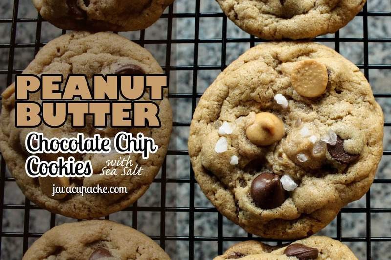 Peanut Butter and Chocolate Chip with Sea Salt Cookies by JavaCupcake.com