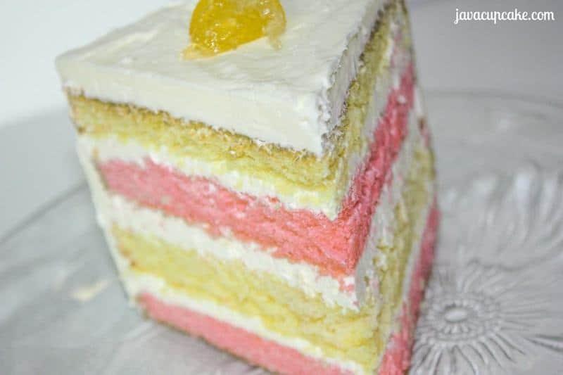 Raspberry Lemonade Layer Cake by JavaCupcake.com