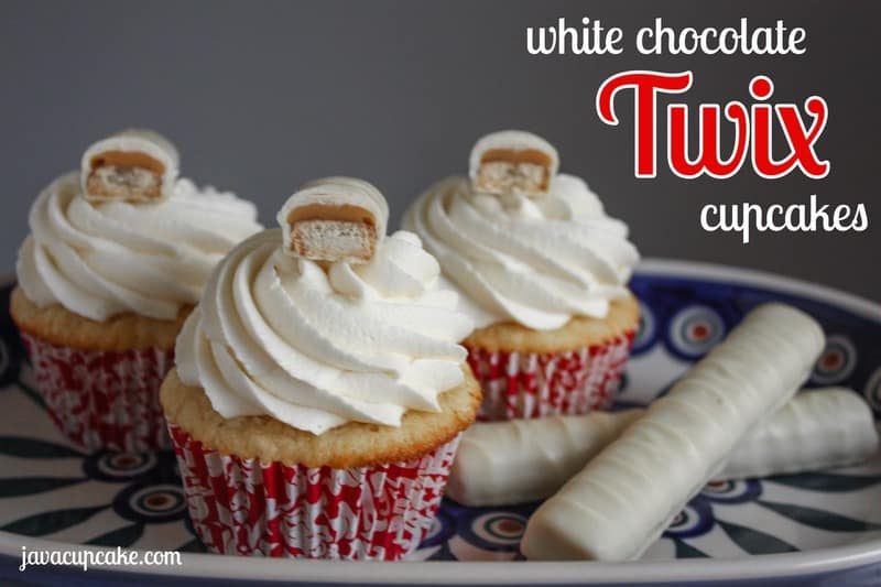 White Chocolate Twix Cupcakes by JavaCupcake.com