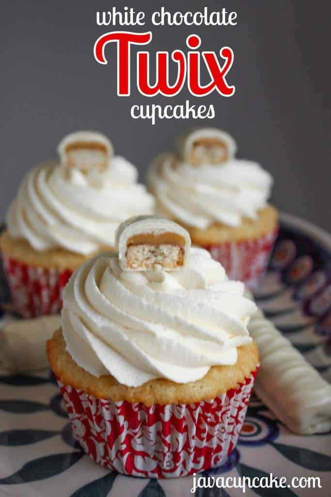 {Recipe} White Chocolate Twix Cupcakes by JavaCupcake.com