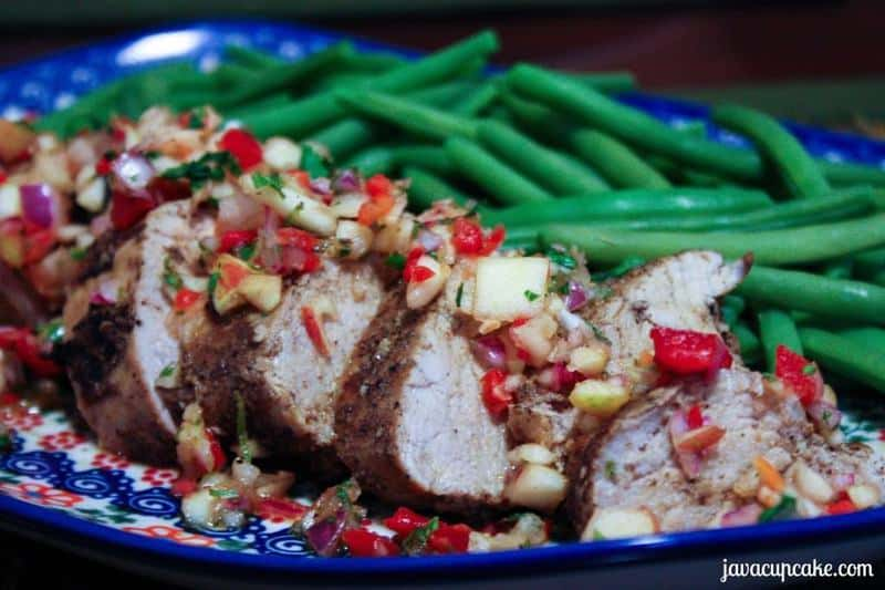 Pork Tenderloin topped with Apple Salsa by JavaCupcake.com