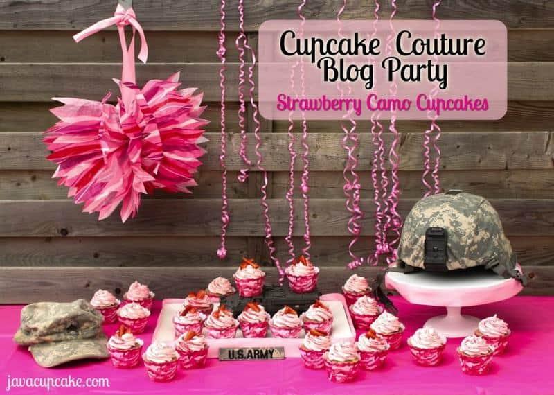 Cupcake Couture Blog Party - Strawberry Camo Cupcakes by JavaCupcake.com
