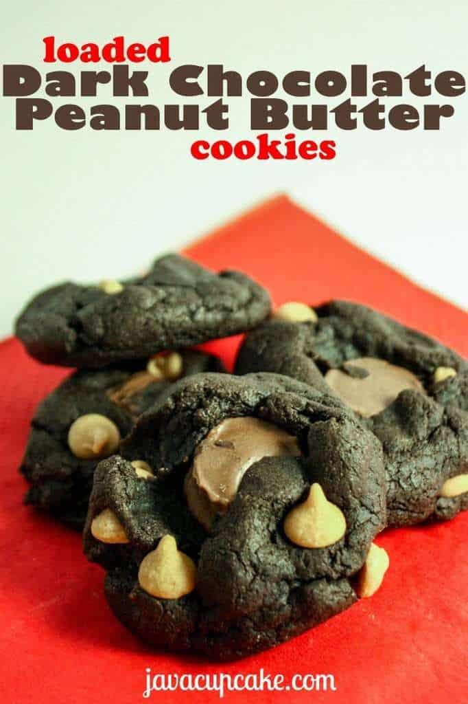 Loaded Dark Chocolate Peanut Butter Cookies by JavaCupcake.com